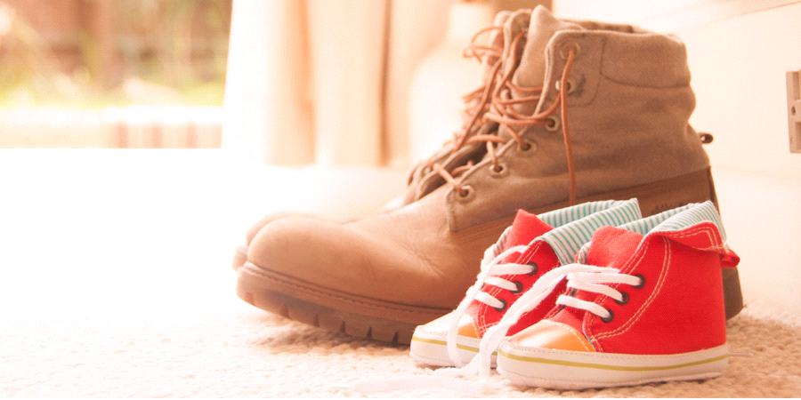 military boots and children shoes