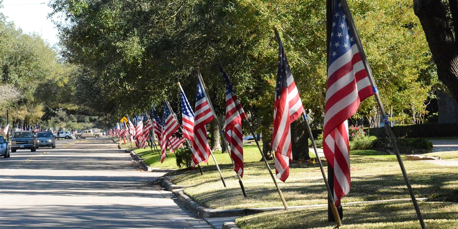 street with row of American flags
